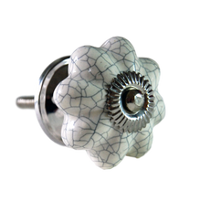 Flower shaped crackle glazed drawer knob