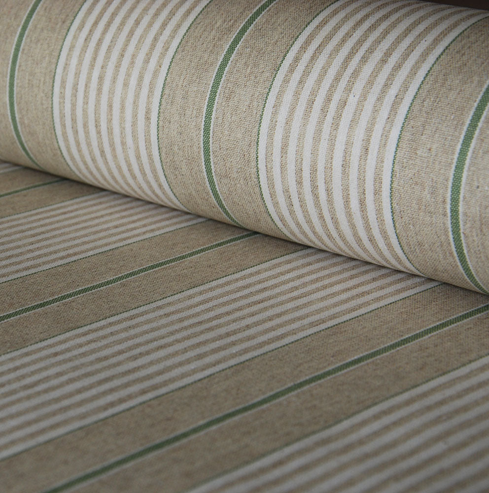 Oilcloth table covering French green harbour stripe