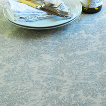 Classic Grey French toile de Jouy Linen Oilcloth