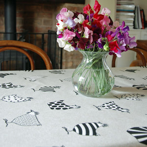 Oilcloth table covering fabric guinea fowl print