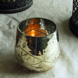 Small Danish silvered glass tea light holder