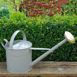Dove Grey Metal 8L Watering Can with Brass Rose