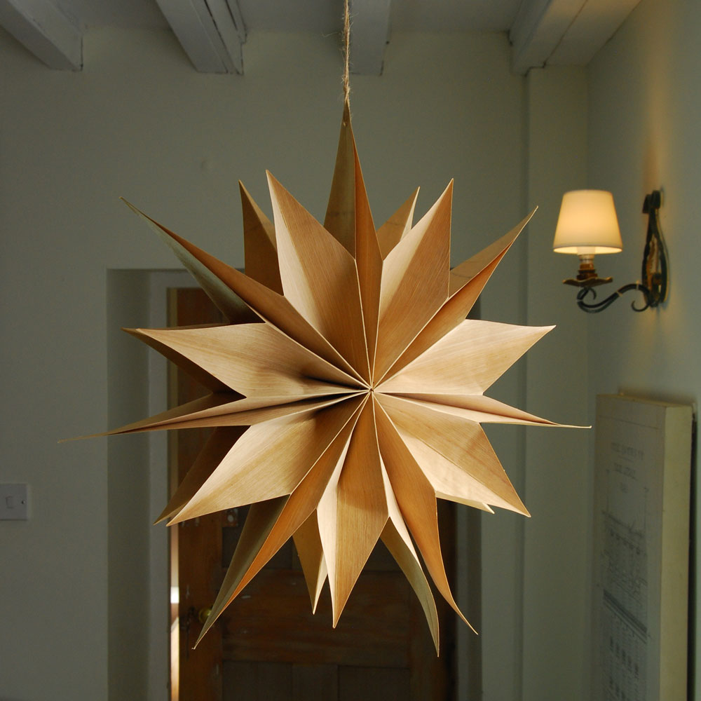 Large recycled paper Scandi star decoration