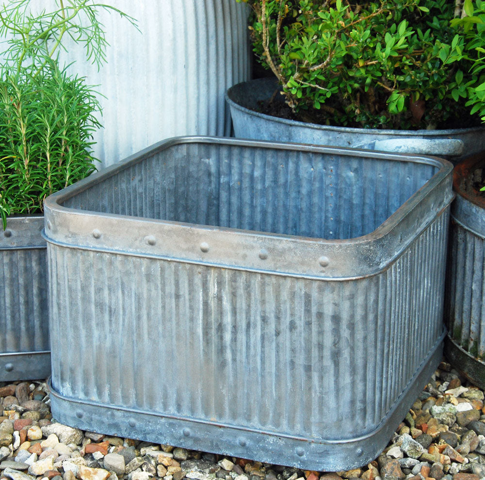 Vintage style square metal dolly planter