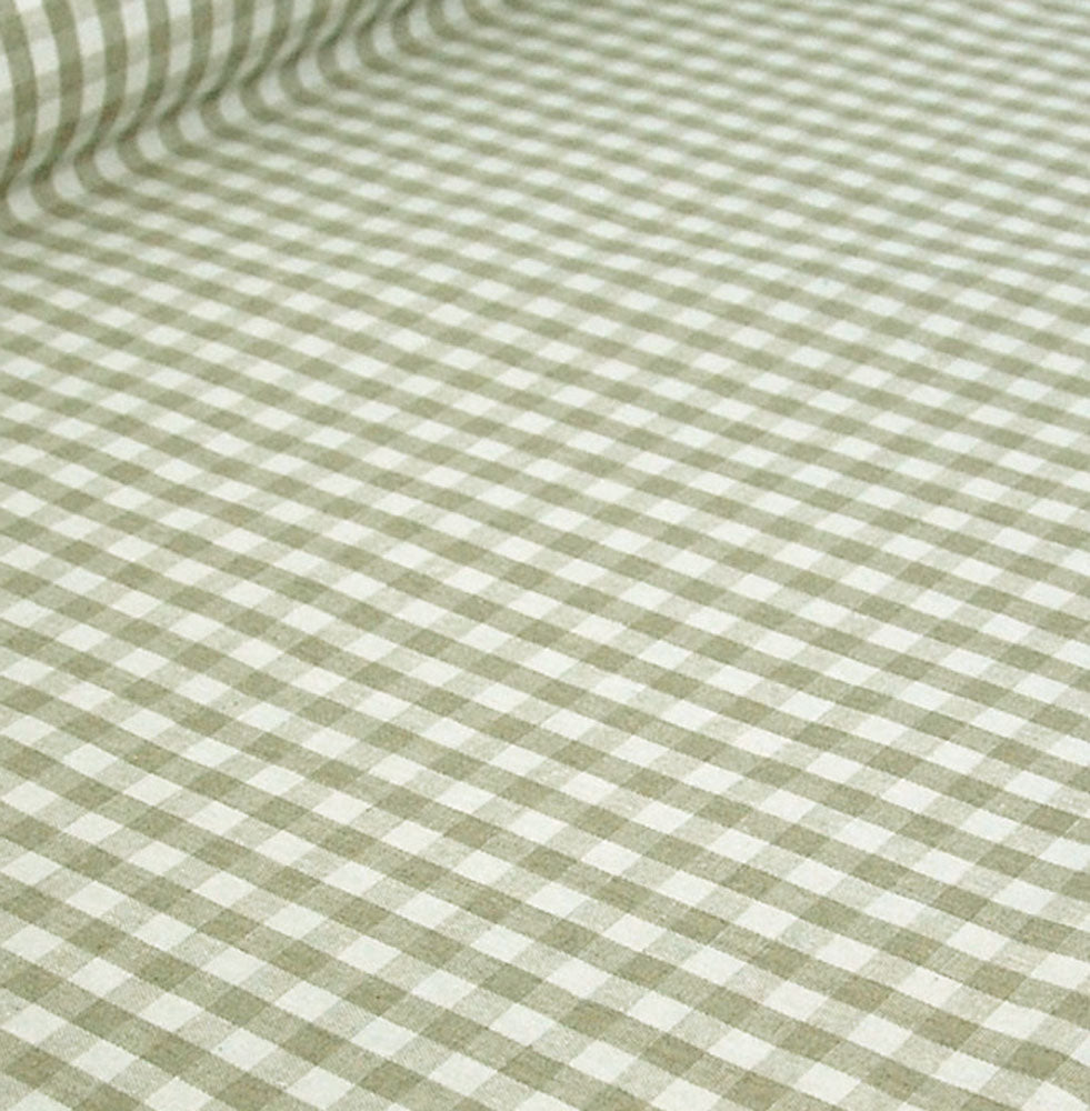 Oilcloth Table Linen Fabric Gustavian 10mm natural gingham check