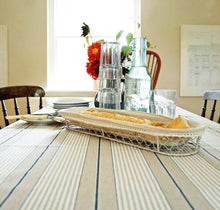 French Blue Harbour Ticking Stripe Linen Oilcloth
