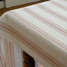 Oilcloth table covering French red harbour stripe