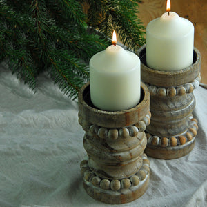Wooden rustic candle holder