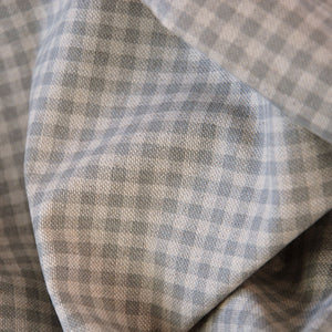 Lund grey bistro check curtain an upholstery fabric