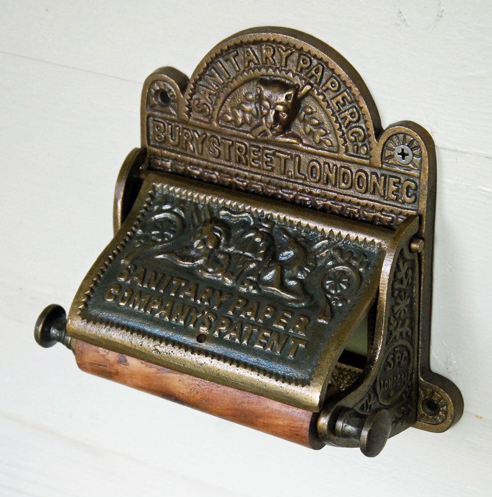 Antique brass Bury Street wall mounted toilet roll holder