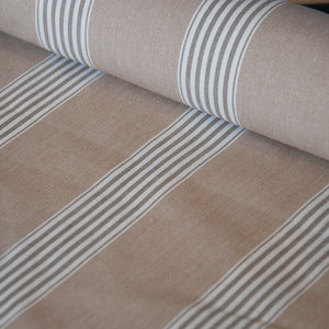 Traditional herringbone weave cotton bay march stripe fabric