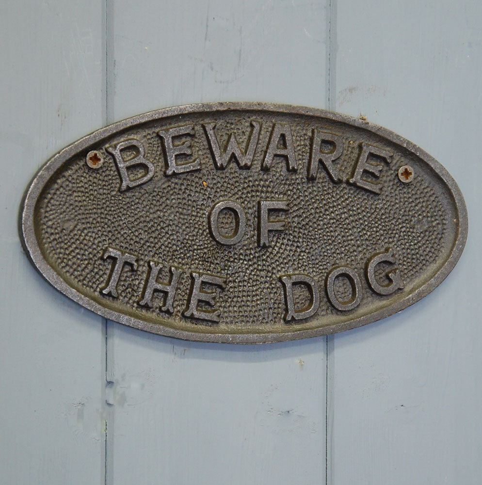 Traditional cast metal beware of the dog sign plaque