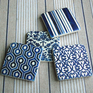 Set of 4 vintage blue retro pattern drinks coasters