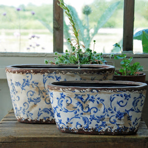 Large blue chintz floral Hampton ceramic oval planter