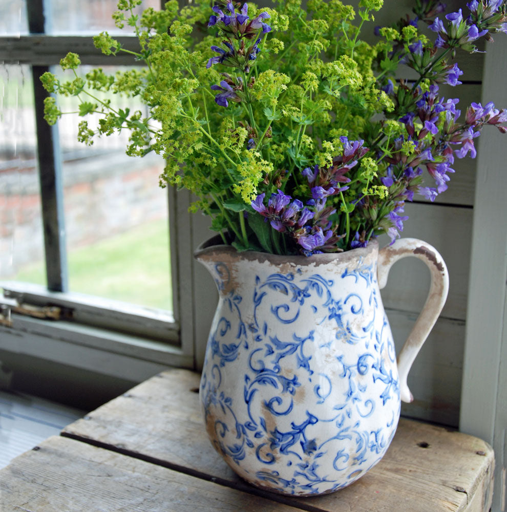 Hampton vintage blue and white floral ceramic jug