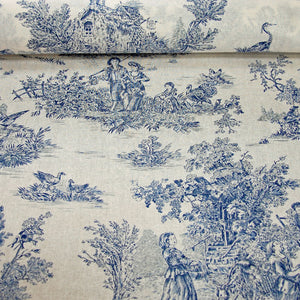 Classic French period blue toile de jouy cotton fabric