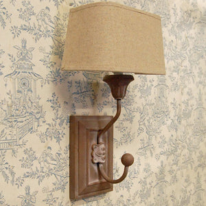 French natural wooden peg wall light with half round oatmeal linen shade