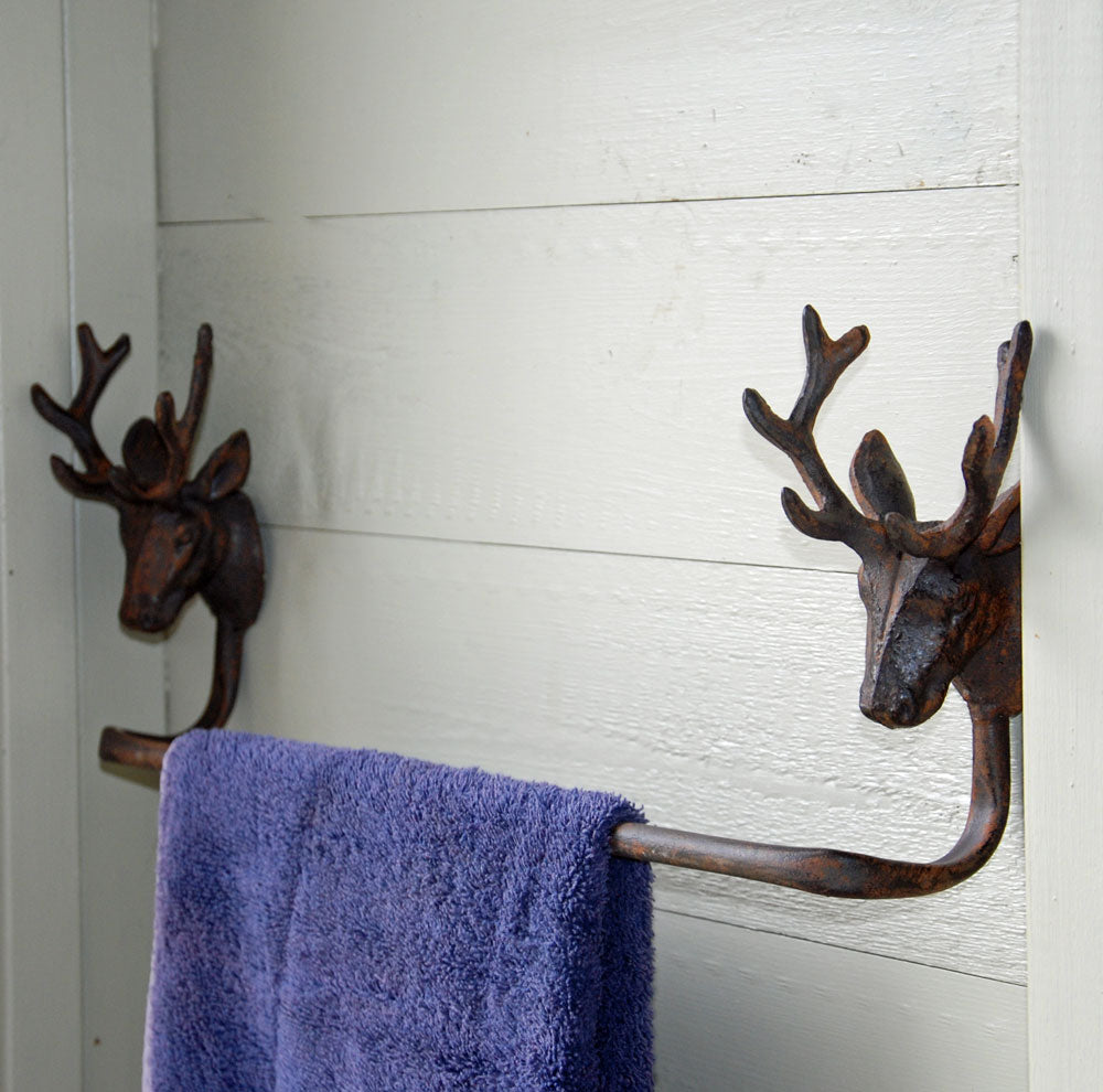 Antique brown stag head cast metal wall mounted towel rail