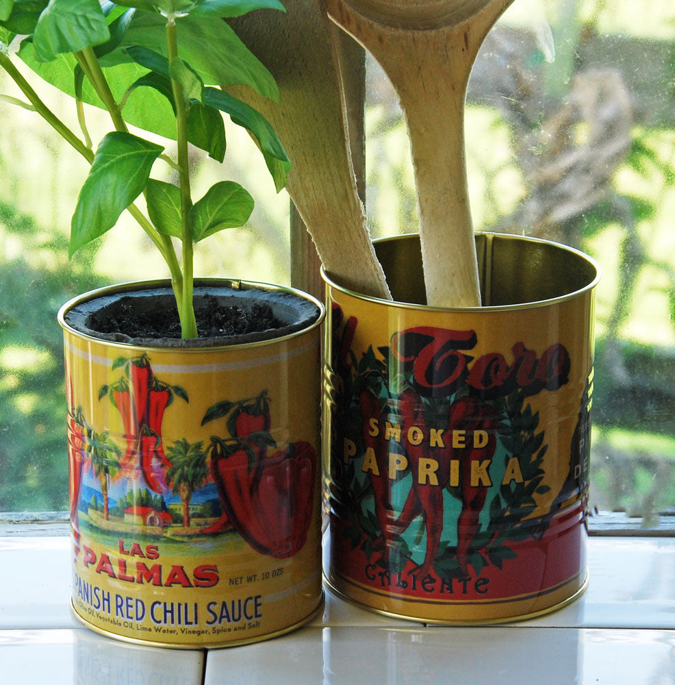 Small retro red chilli sauce tin can kitchen storage pot