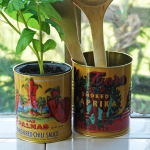 Large retro smoked paprika tin can kitchen storage pot