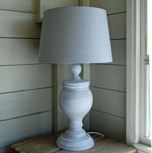 Clumber grey wooden table lamp with linen drum lampshade