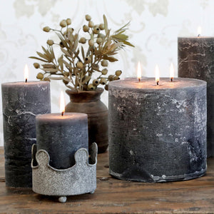 Danish Rustic Single Wick Coal Grey Pillar Candle