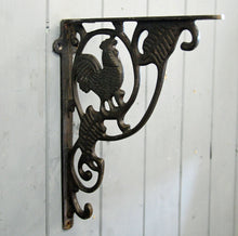 Cast metal cockerel design wall shelf bracket