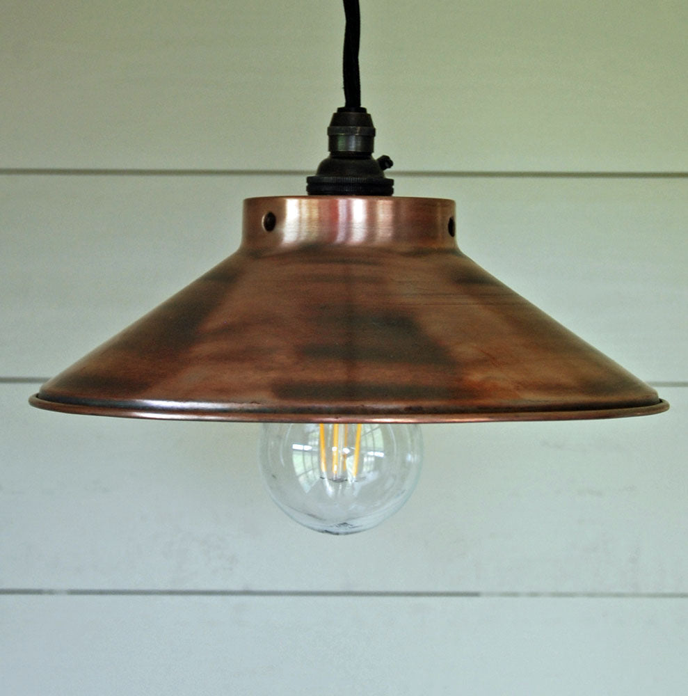 Antique copper coolie pendant ceiling shade 230mm