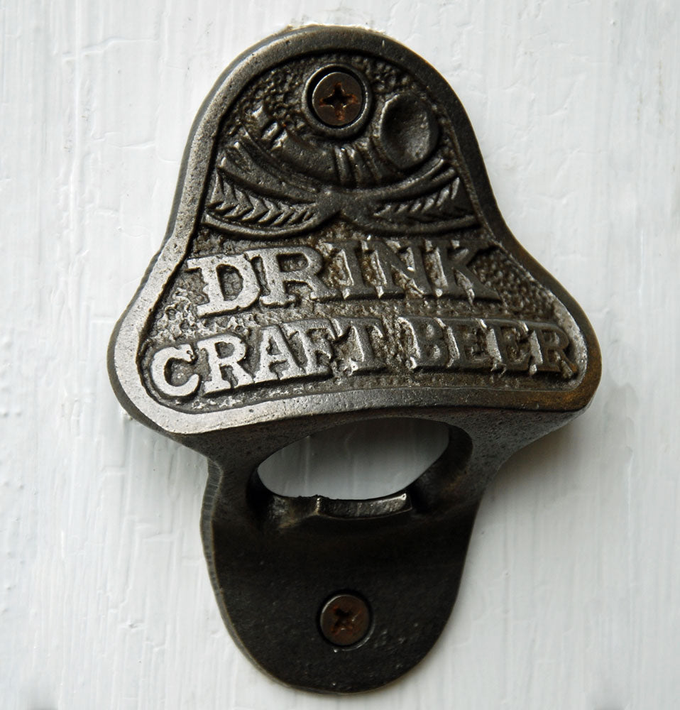 Craft beer wall mounted bottle opener