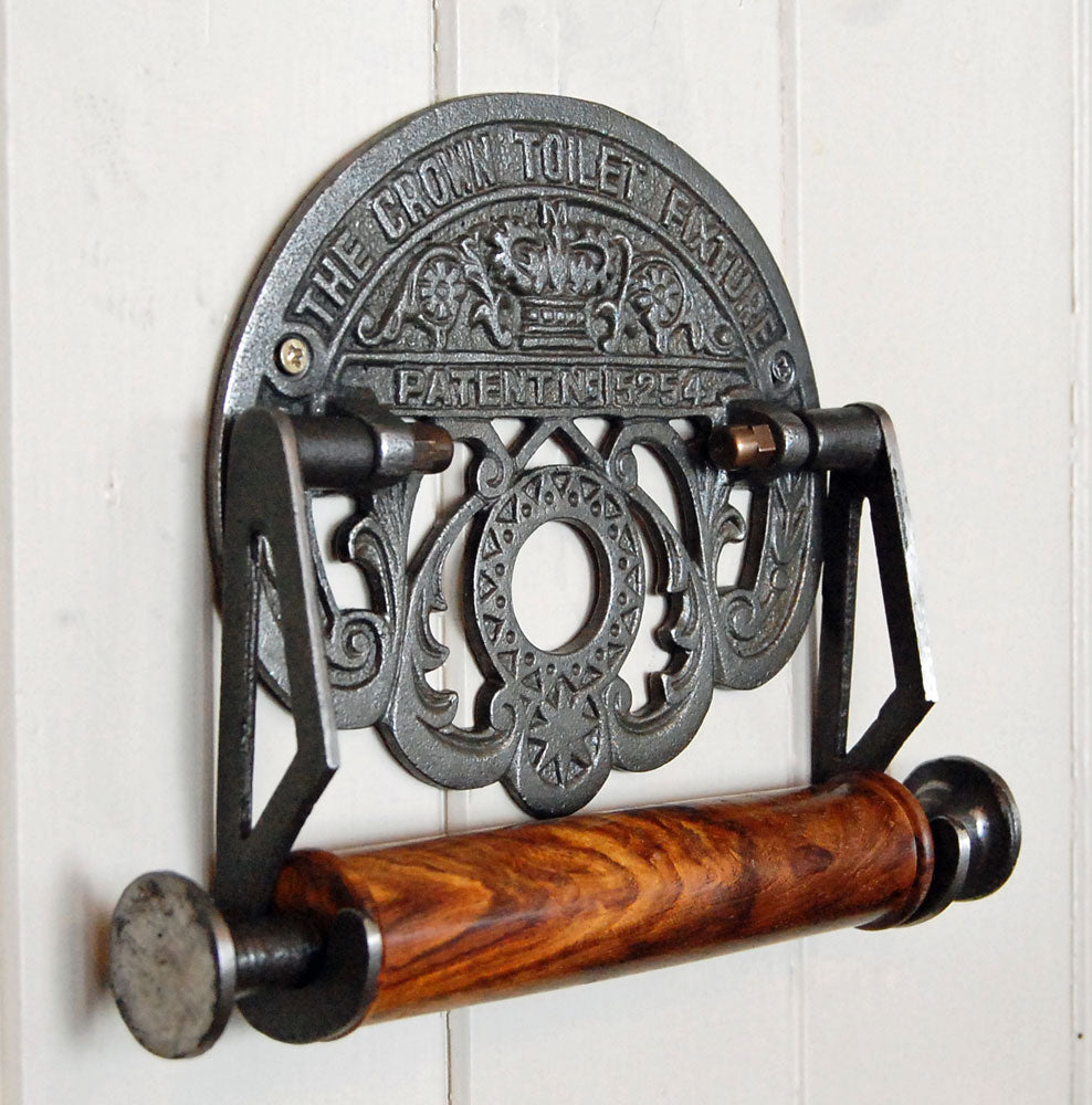 Traditional Crown antique design wall mounted toilet roll holder.