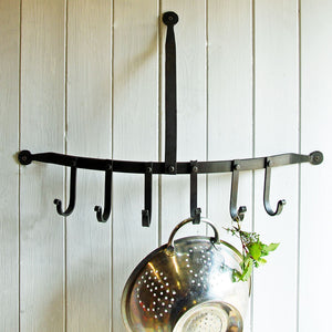 Peebles curved cast iron kitchen rack hooks