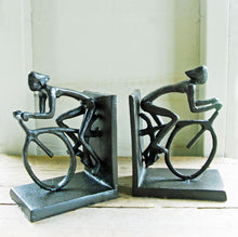 Pair of dark metal finish cyclist bookends