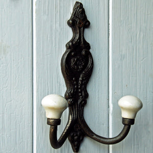 Chateau cast metal double wall coat hook