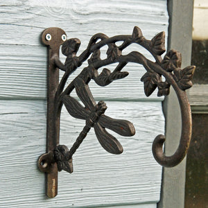 Decorative cast iron dragonfly garden hanging basket bracket