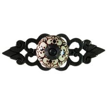 Edwin vintage style ceramic drawer handle with filigree back plate