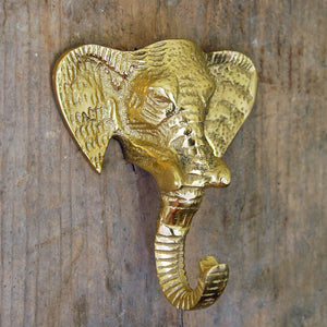 Brass coloured Indian elephant head coat hook