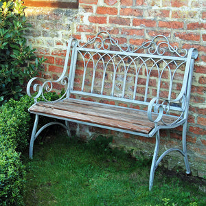 Estate green garden bench with wooden seat