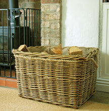 Extra Large rectangular hessian lined mill log basket