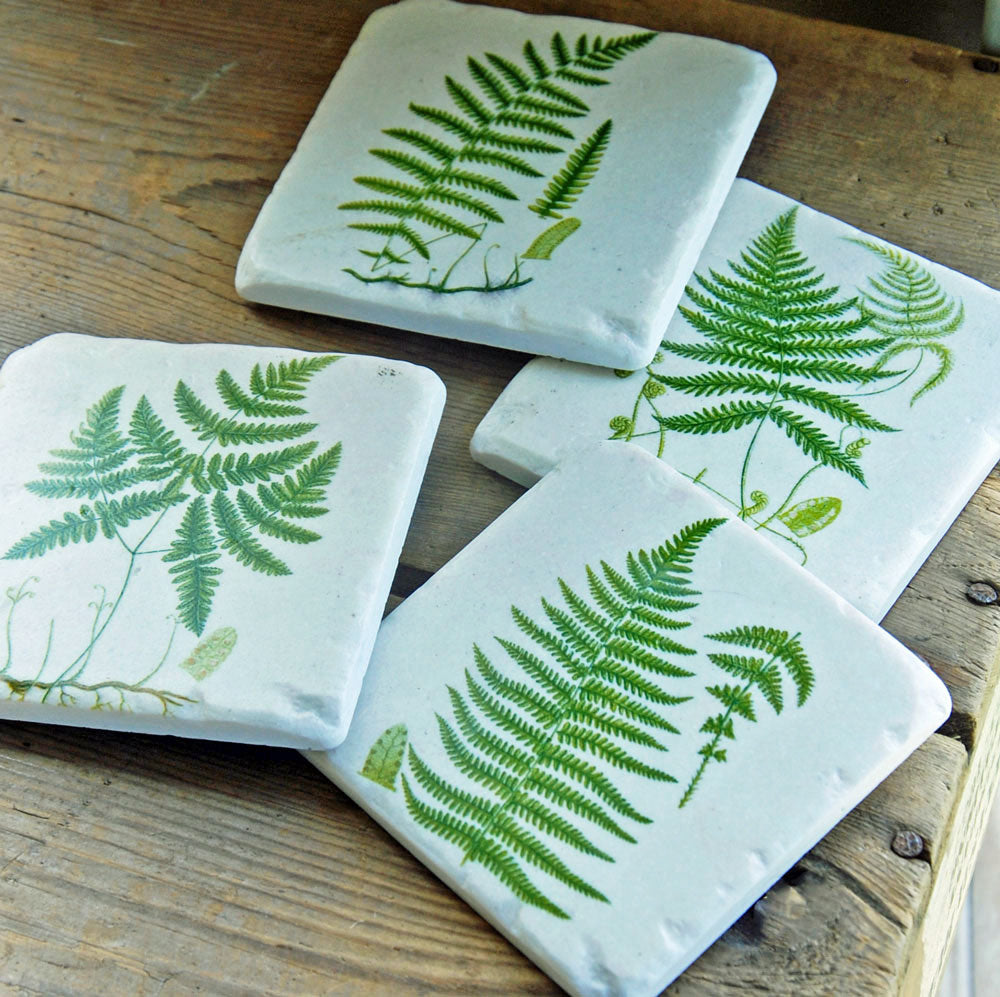 Boxed set of four vintage fern leaf drinks coasters