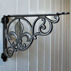 Cast metal vintage style Fleur wall shelf bracket