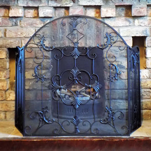 Traditional Fleur black metal fireguard screen