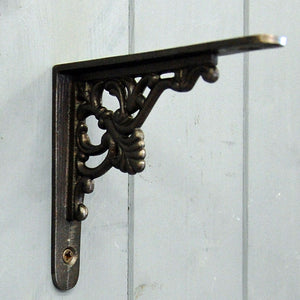 Small Floret cast metal wall shelf bracket