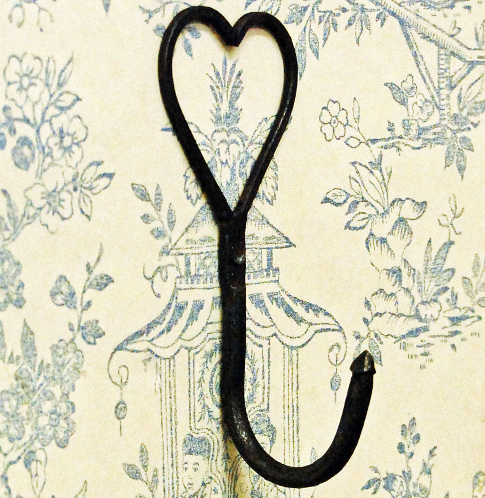 Hand forged iron heart coat hook