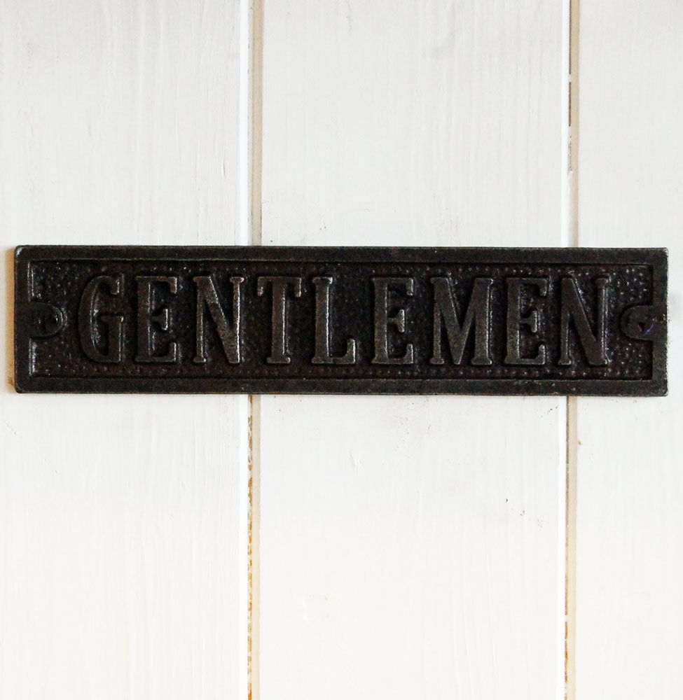Gentlemen cast metal antique style metal door sign