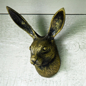Golden vintage style cast metal hare portrait coat hook