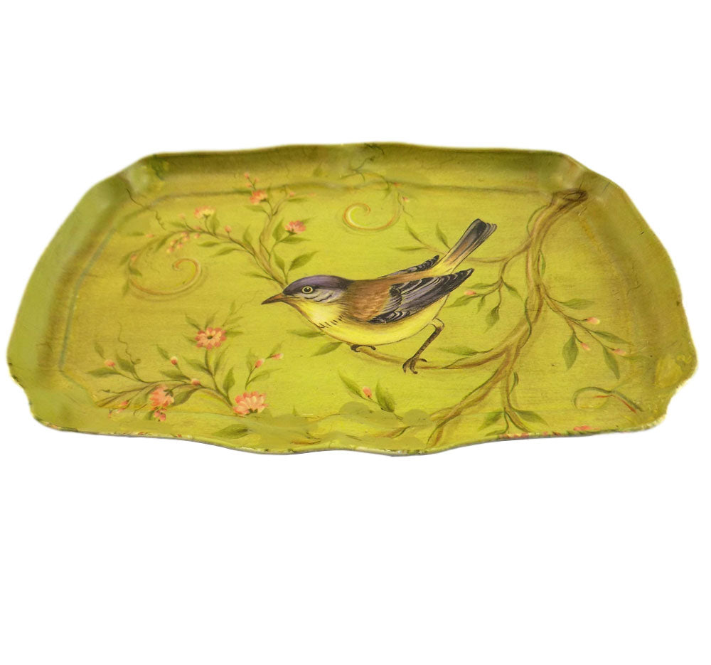 Green vintage bird print dressing table tray