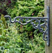 Danish antique cast iron design hanging basket lantern bracket