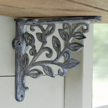 French vintage grey metal leaf shelf bracket 140mm