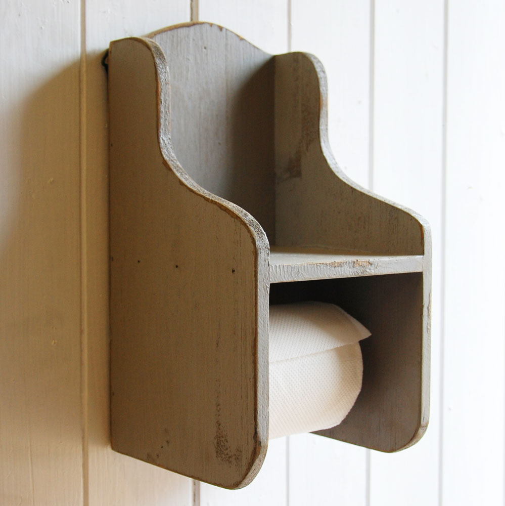 Colchester grey wooden vintage design wall mounted toilet roll holder