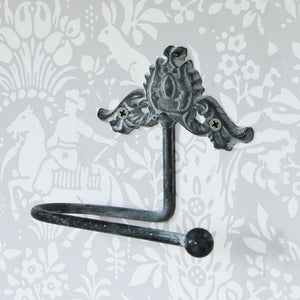 Chic grey metal wall mounted toilet roll holder